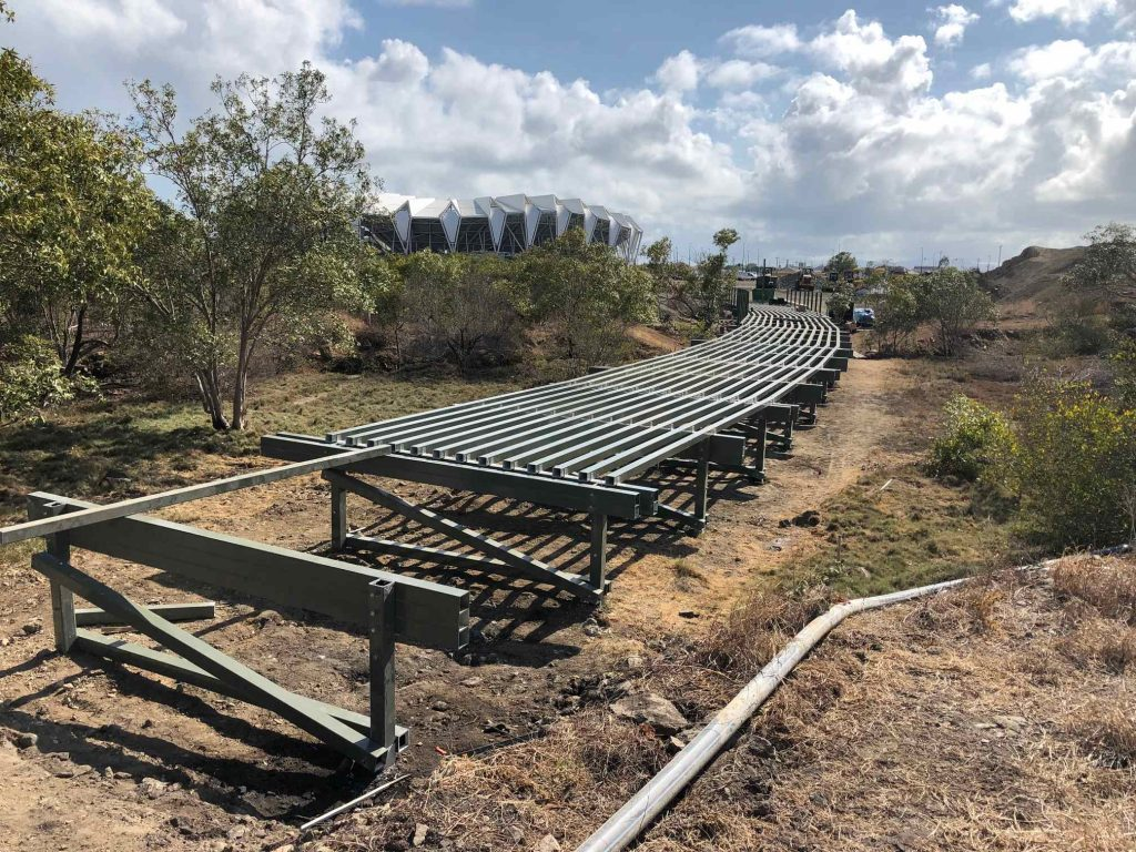 PW landscapers building the new pedestrian boardwalk in Townsville at the NQ Stadium