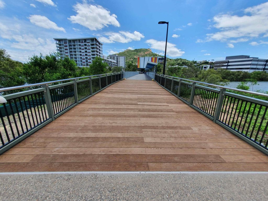 Pedestrian boardwalk built in Townsville outside the Cowboys Stadium by PW Landscapers