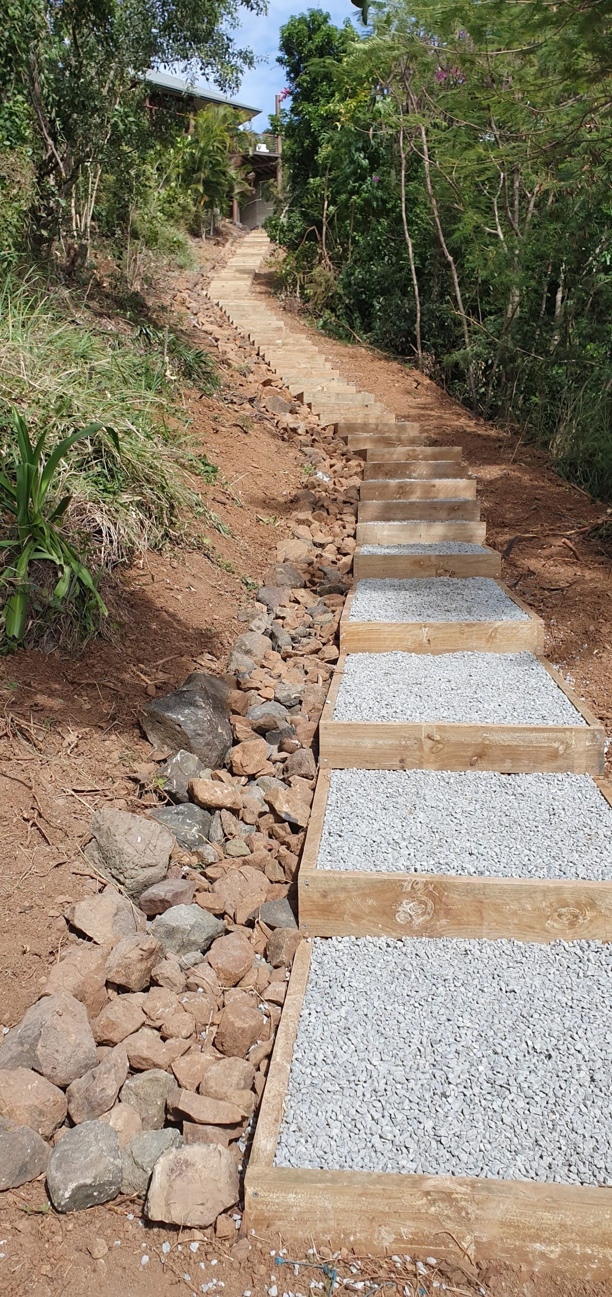 examples of stairs and bridges by PW Landscapes, North Queensland installs